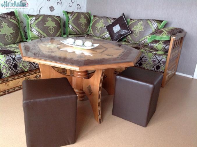 Salon Marocain Complet Marron Et Vert Pistache
