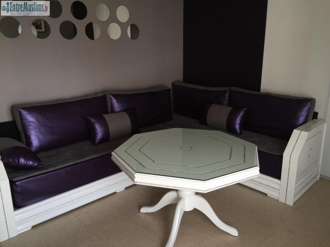 Salon marocain complet strass blanc - Salon marocain capitonne cuir ...