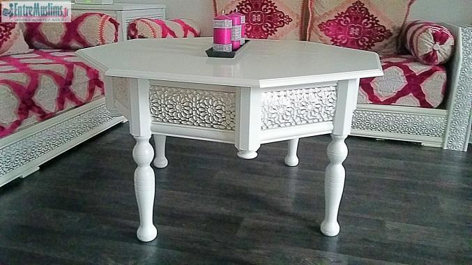 Vend salon marocain blanc et argent complet for Salon marocain blanc