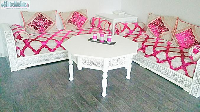 Vend salon marocain blanc et argent complet for Acheter salon complet