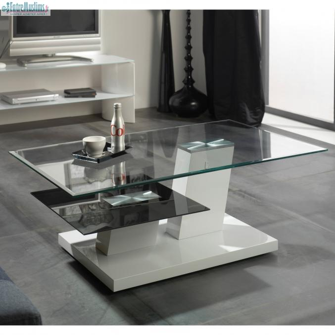 table design en verre double plateaux. Black Bedroom Furniture Sets. Home Design Ideas