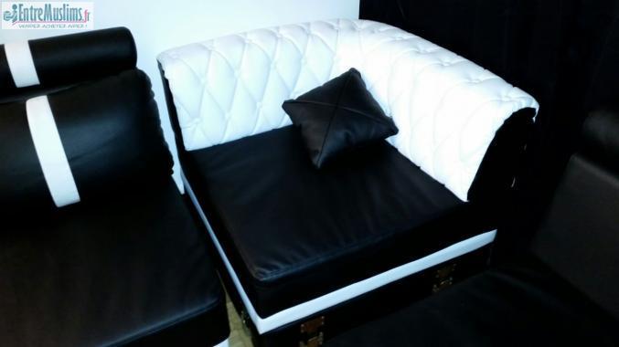 Grand canap d 39 angle design noir et blanc en cuir de for Canape yam but