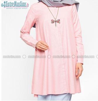 boutique officielle produits de qualité prix bas Tunique-Chemise longue Modanisa rose NEUVE - EntreMuslims.fr