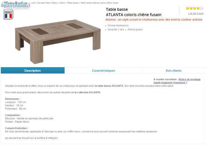 Table basse atlanta conforama - Location utilitaire conforama ...
