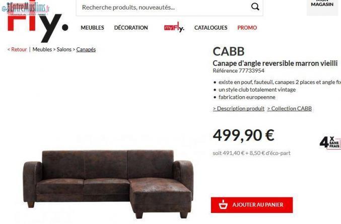 Canape D Angle Reversible Fly Marron Entremuslims Fr
