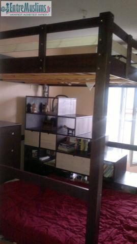 mezzanine de qualité 2 places bois massif + meuble conforama