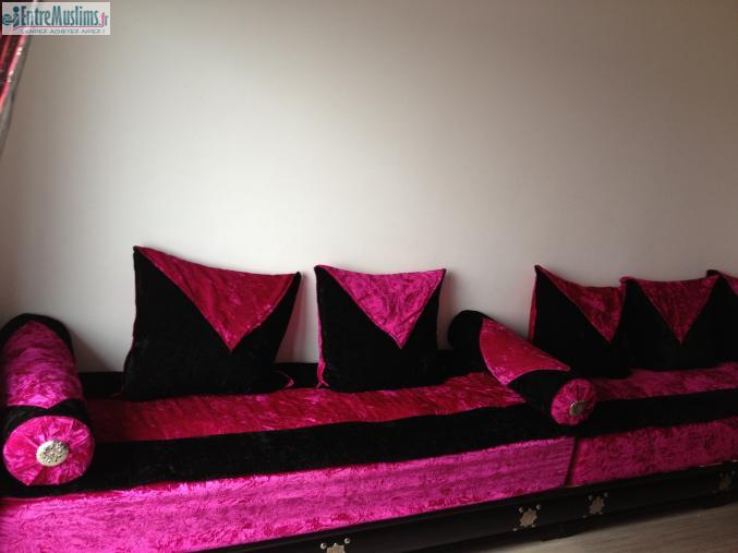 Salon Marocain Rose Fushia : Salon marocain seddaris noir et rose fushia