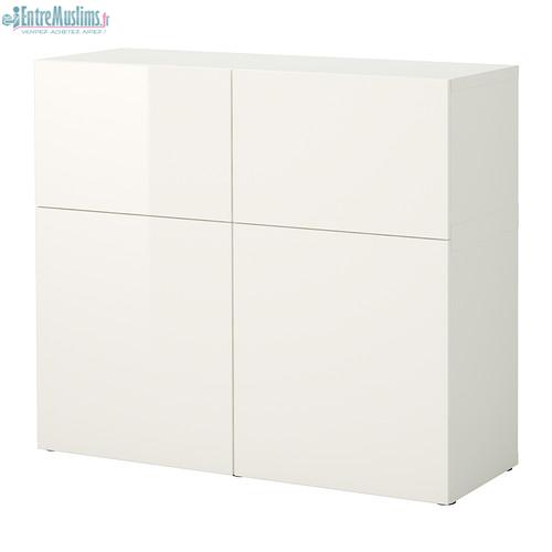 Ikea meuble blanc table de lit a roulettes for Meuble kallax blanc