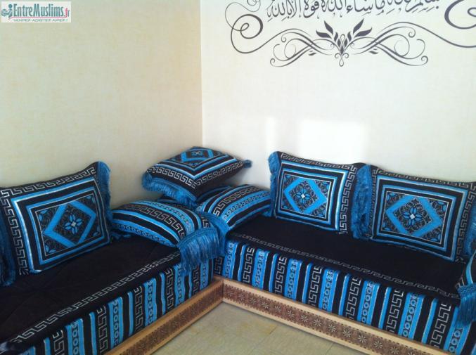 Salon marocain - Salon marocain turquoise marron ...